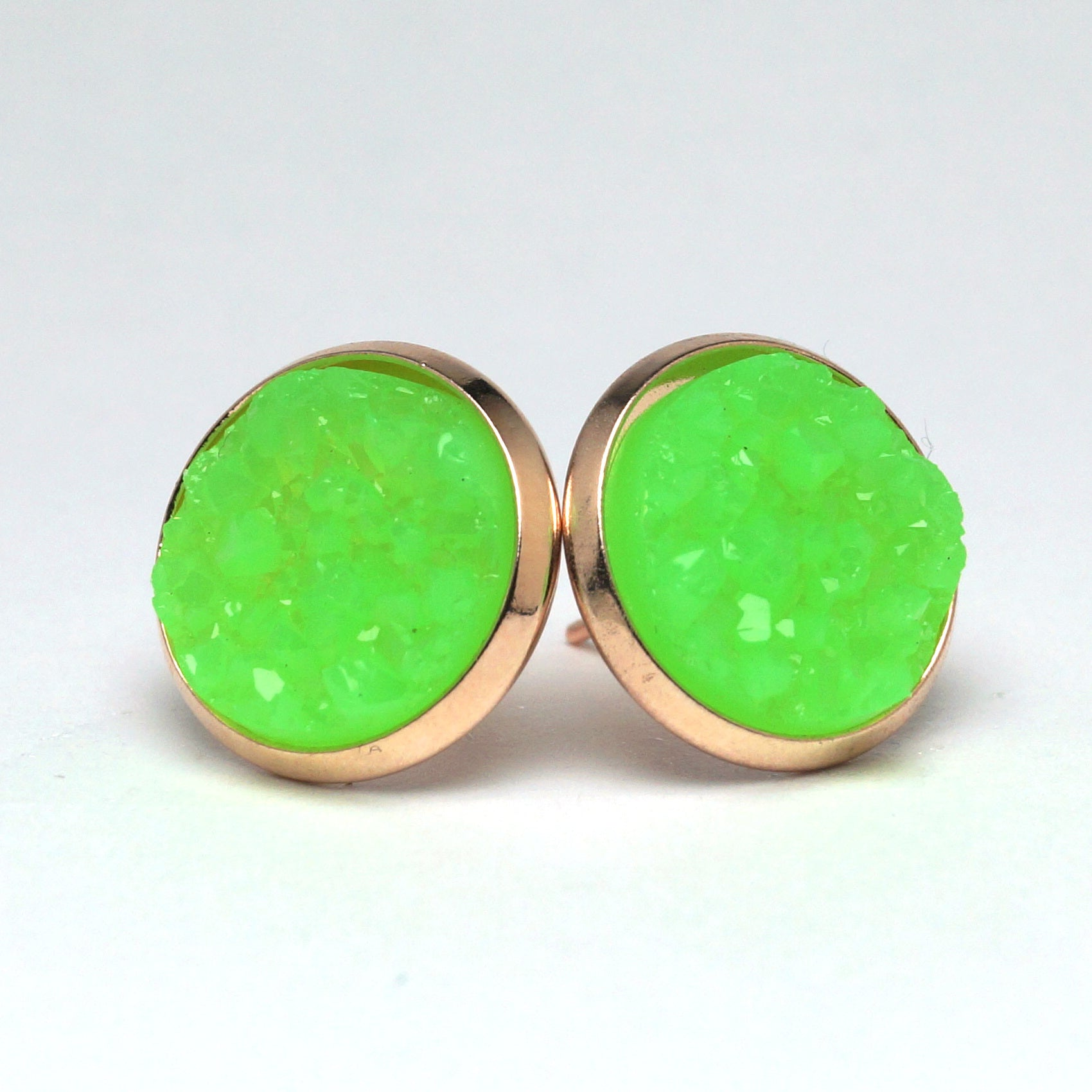 Green Turaco Druzy Stud Earrings (14mm)