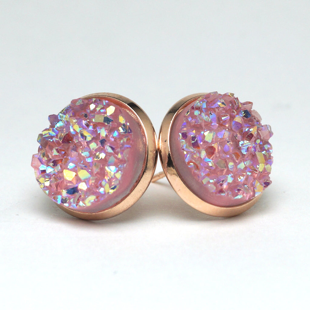 Pink Galah Druzy Stud Earrings  (14mm)