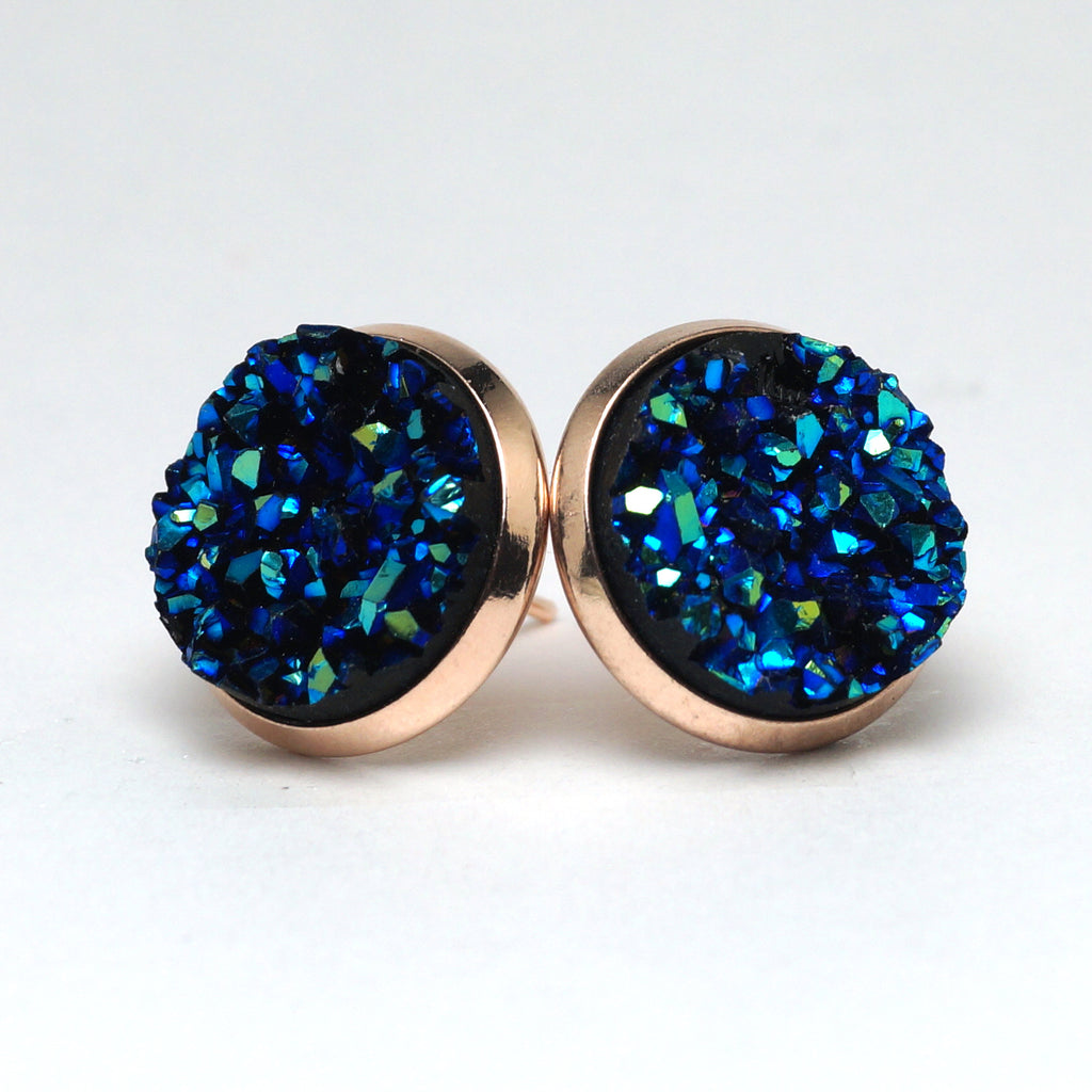 Blue Bunting Druzy Stud Earrings (14mm)