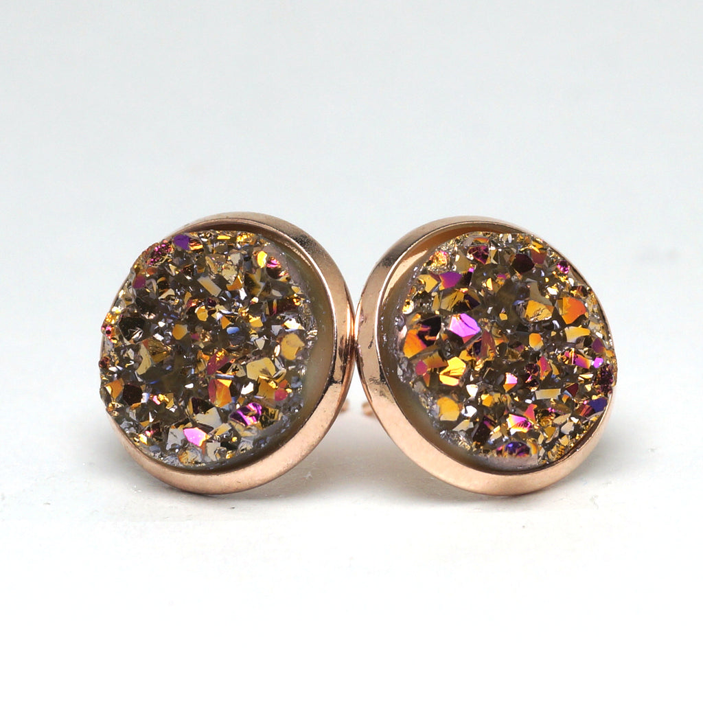 Fuschia Rosefinch Druzy Stud Earrings (14mm)