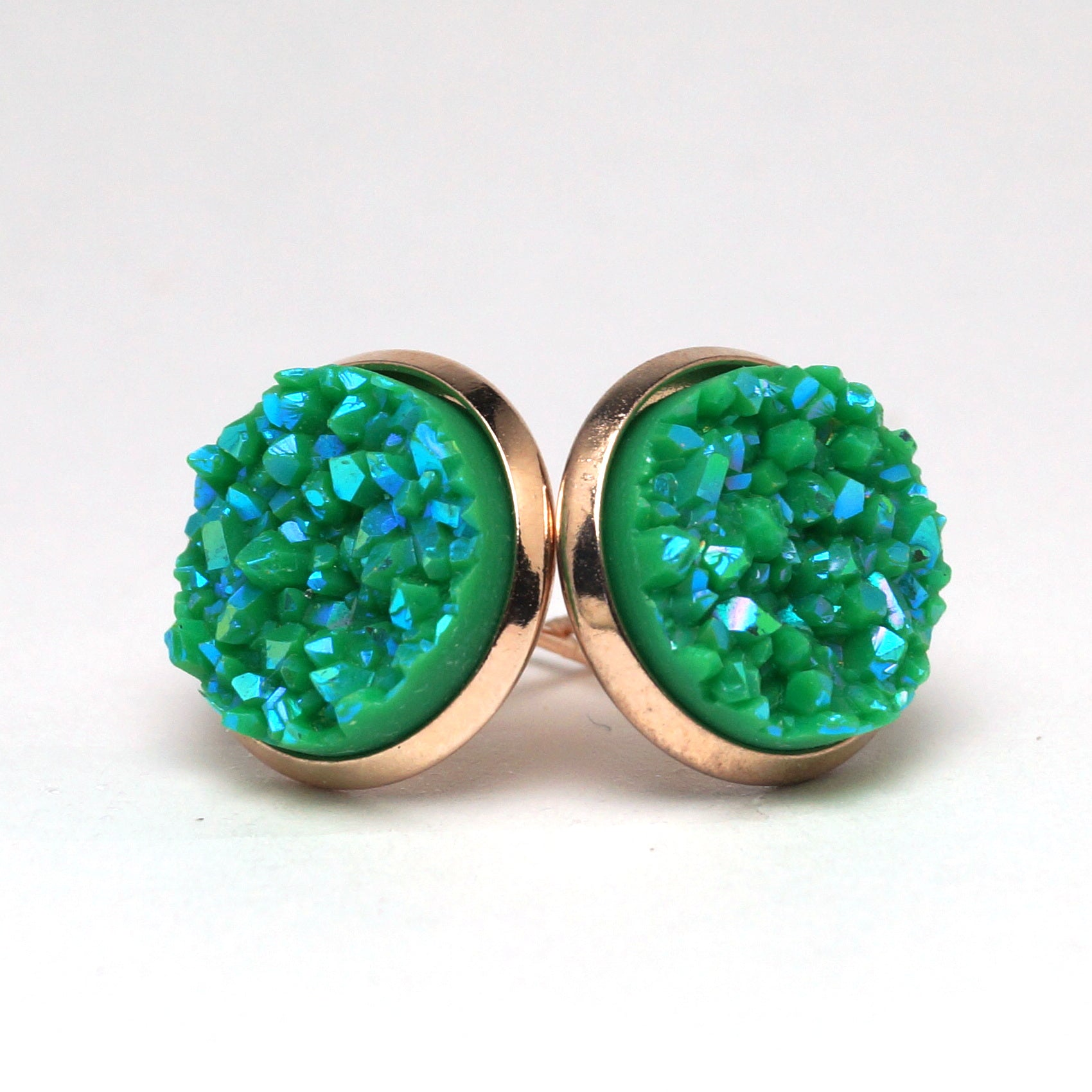 Green Broadbill Druzy Stud Earrings  (14mm)