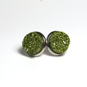 Glittery Green Druzy Stud Earrings (14mm)