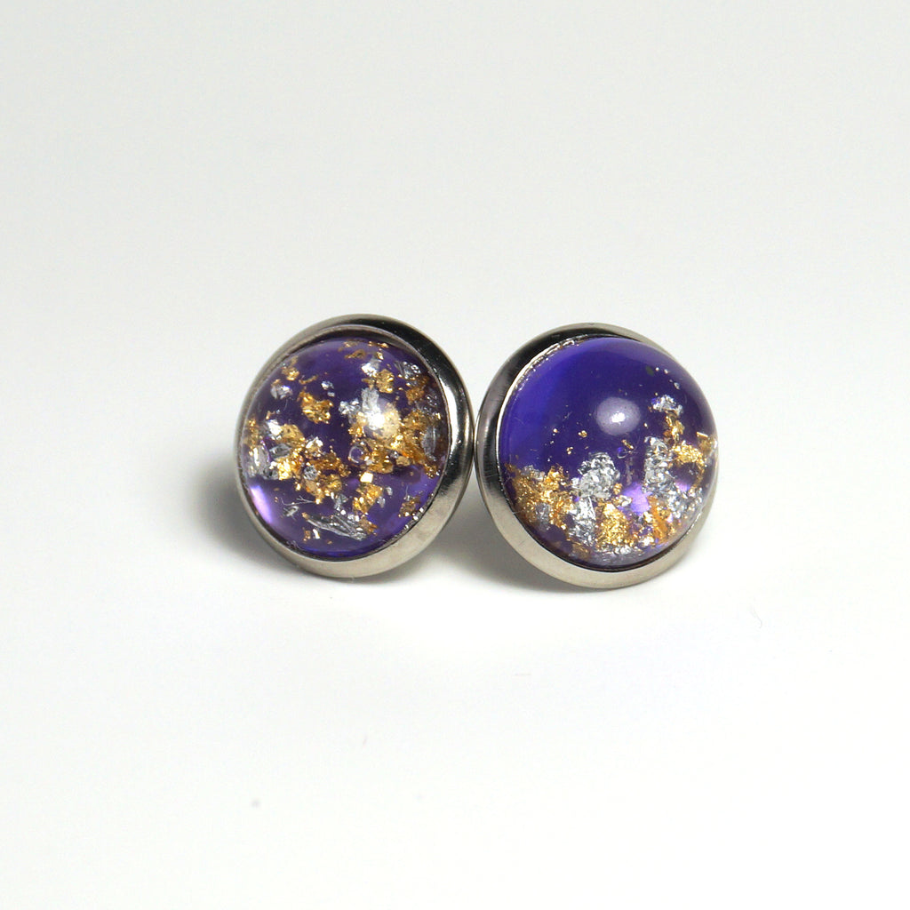 Gold Foil Violet Stud Earrings (14mm)