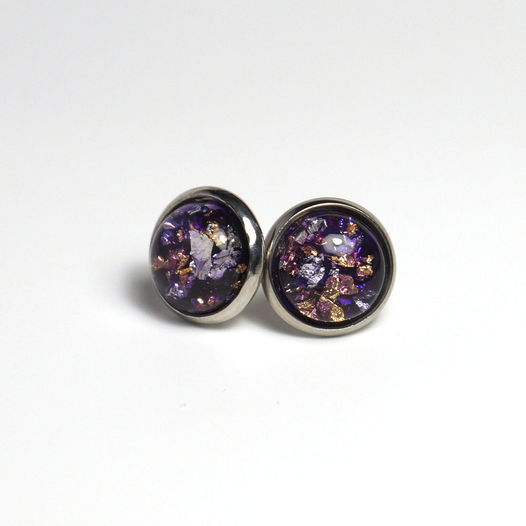 Gold Foil Violet Stud Earrings (12mm)