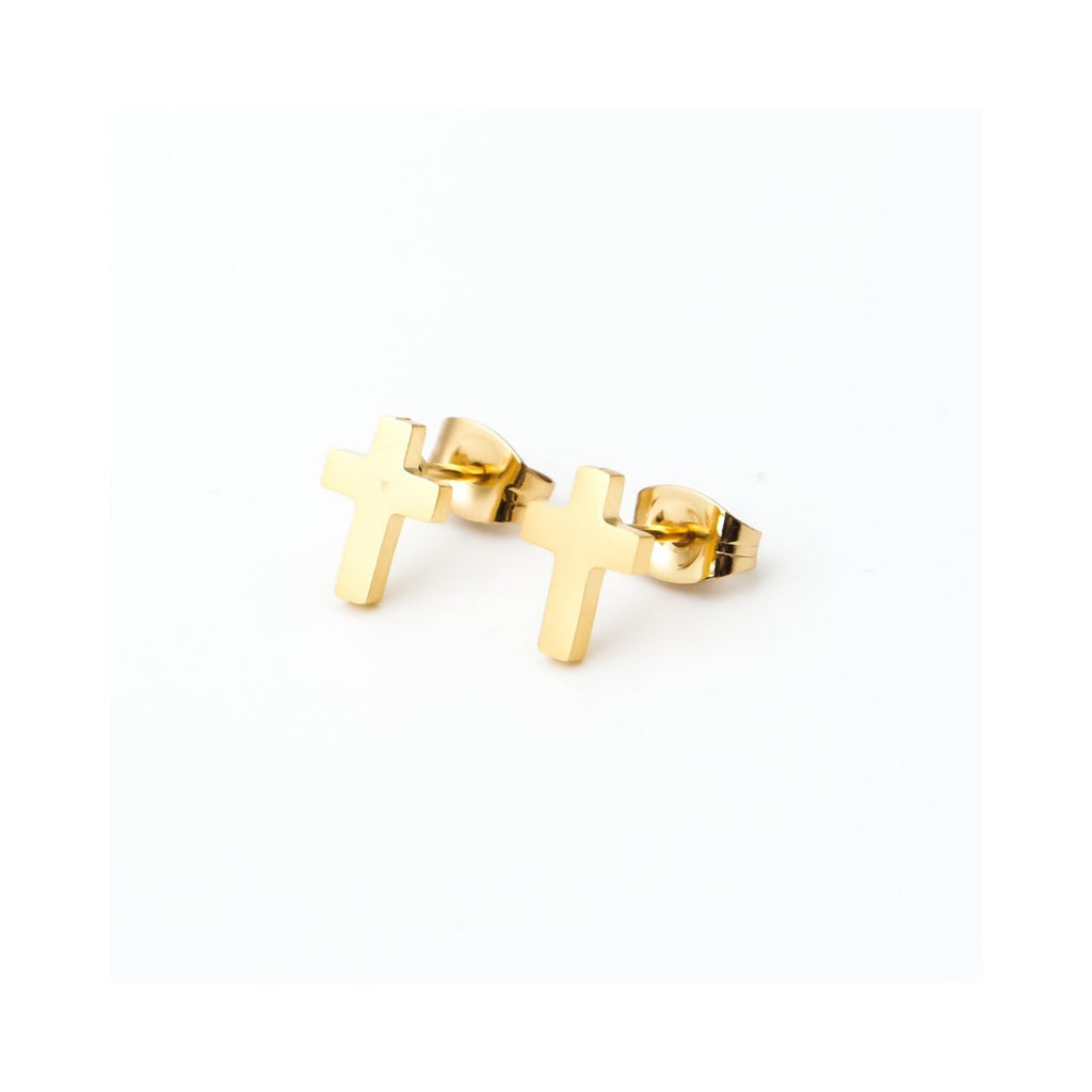 Gold Cross Stainless Studs