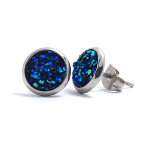 Shop Blue Druzy Silver Toned Stud Earrings (10mm)-Jarvi