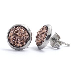 Shop Champagne Druzy Silver Toned Stud Earrings (10mm)-Jarvi