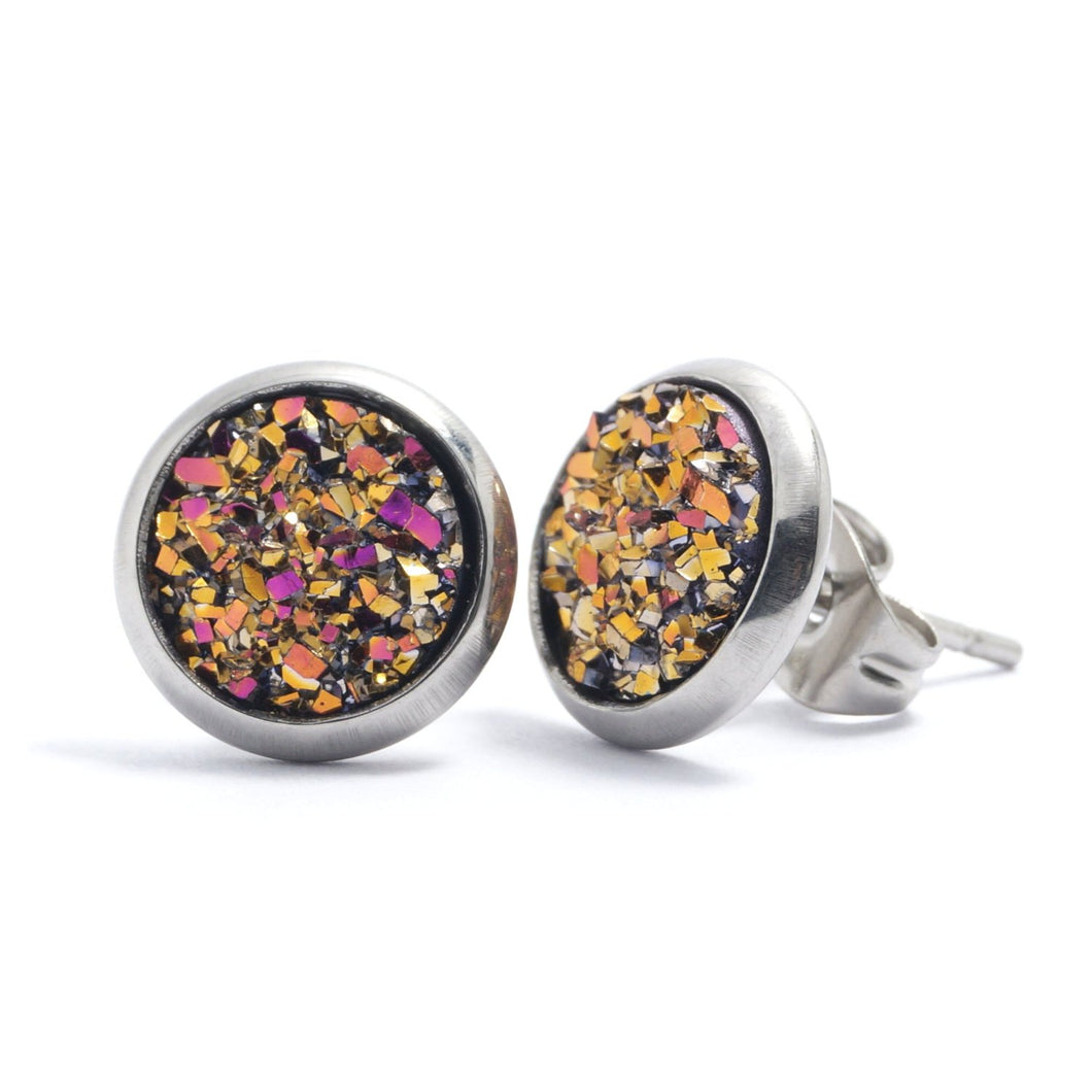 Shop Fuchsia Druzy Silver Toned Stud Earrings (10mm)-Jarvi