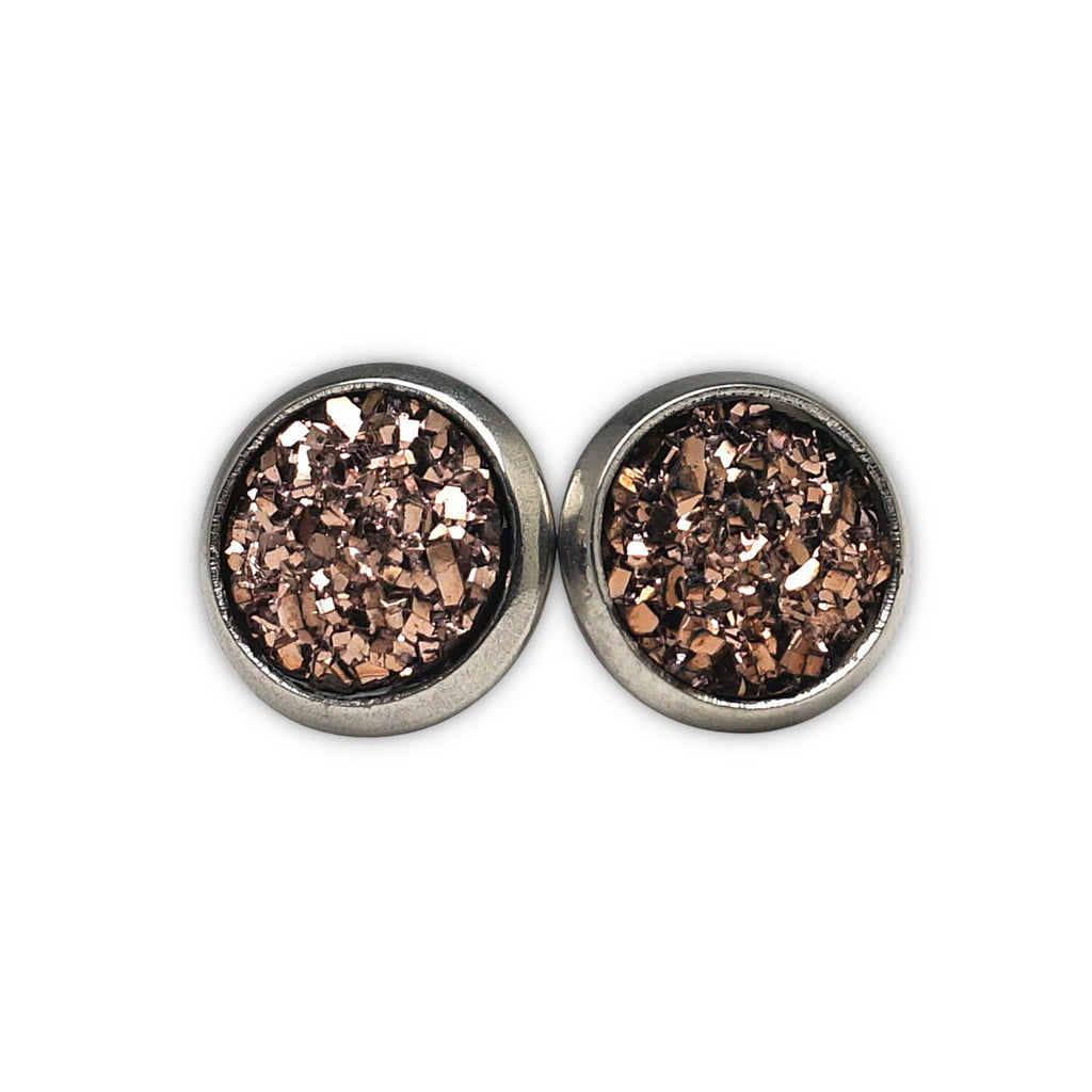 Champagne Druzy Silver Tone Stud Earrings  (10mm)