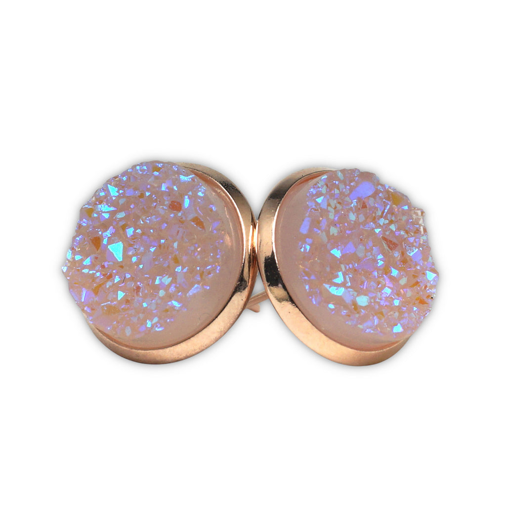 Light Pink Druzy Stud Earrings (14mm)
