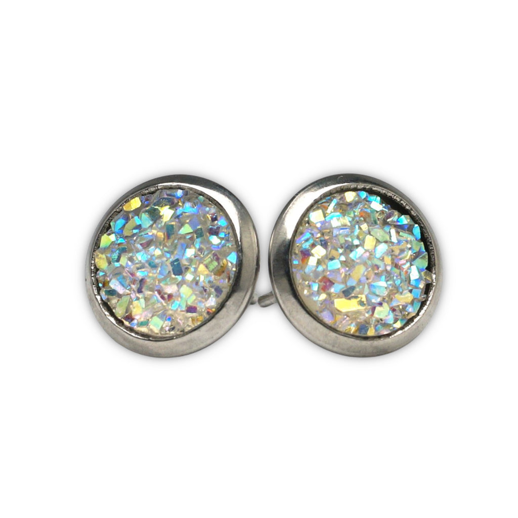 White Druzy Silver Tone Stud Earrings  (10mm)