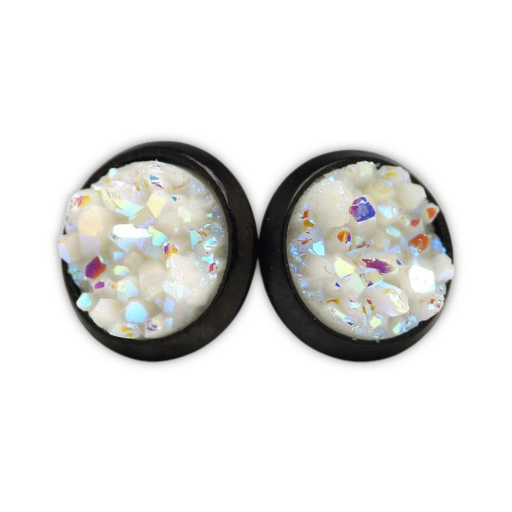 White Chick Swan Druzy Stud Earrings  (10mm)