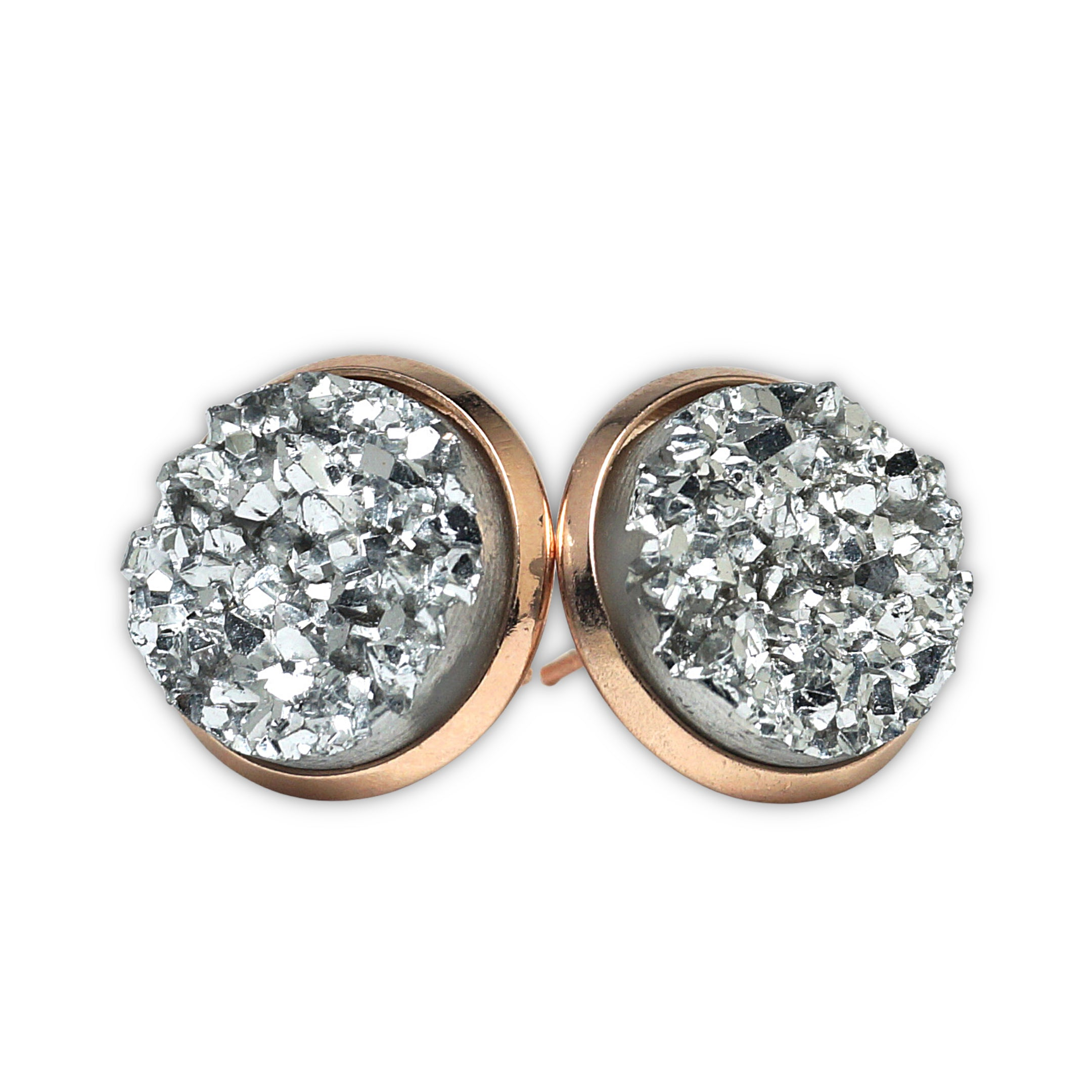 Silver Kite Druzy Stud Earrings (14mm)