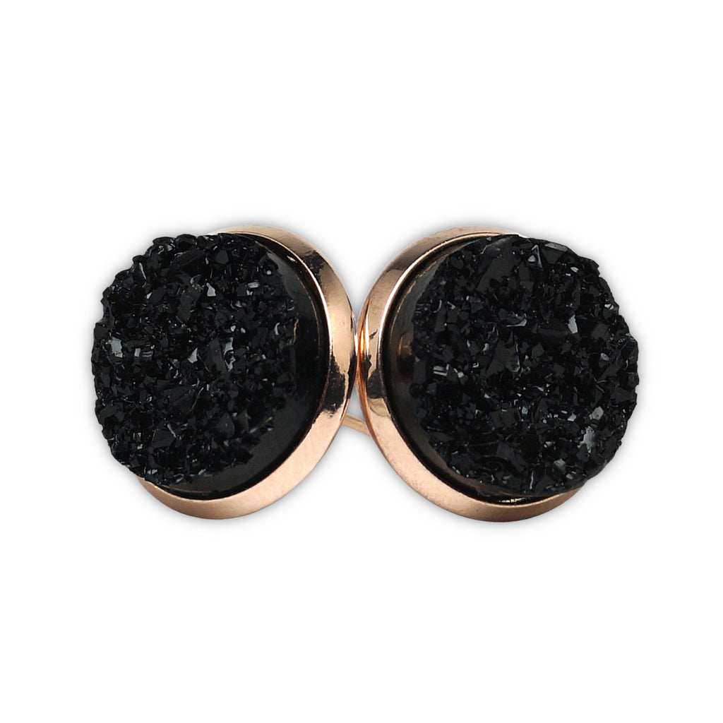 Black Raven Druzy Stud Earrings  (14mm)