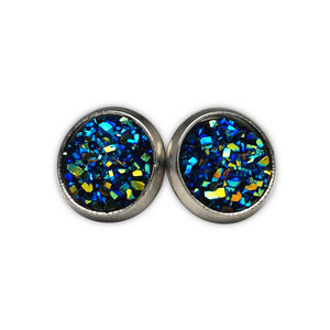 Blue Druzy Silver Tone Stud Earrings  (10mm)