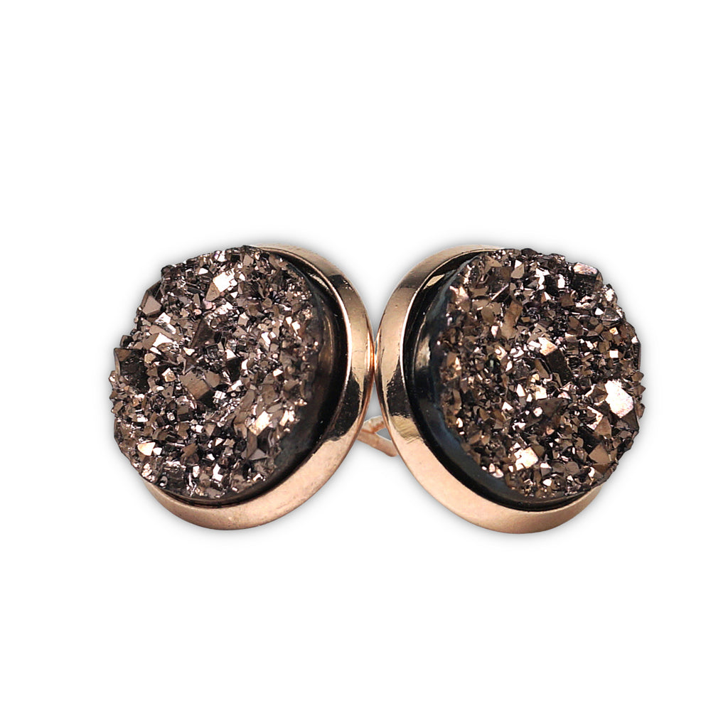 Champagne Stint Druzy Stud Earrings  (14mm)