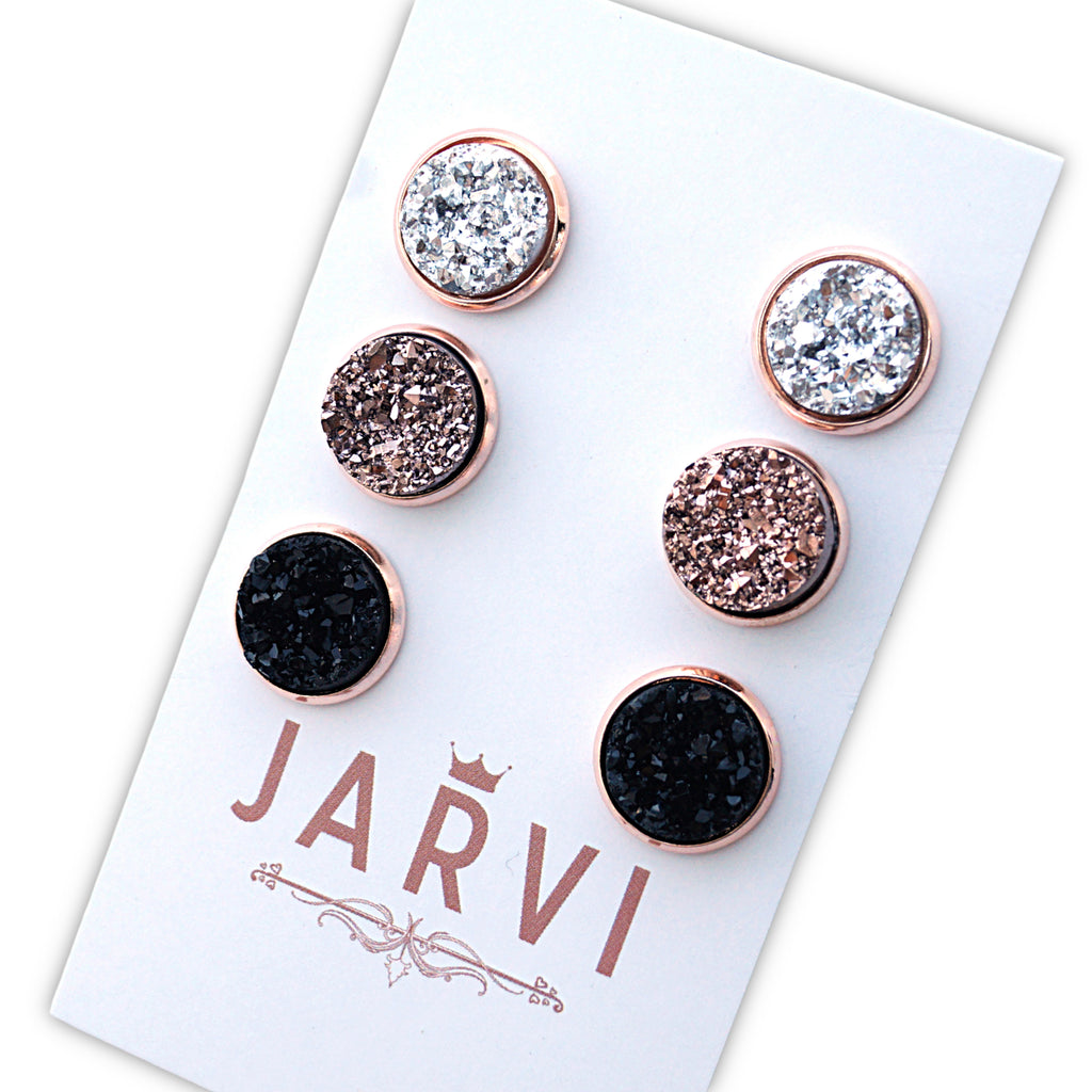 Custom Trio Set Druzy Stud Earrings