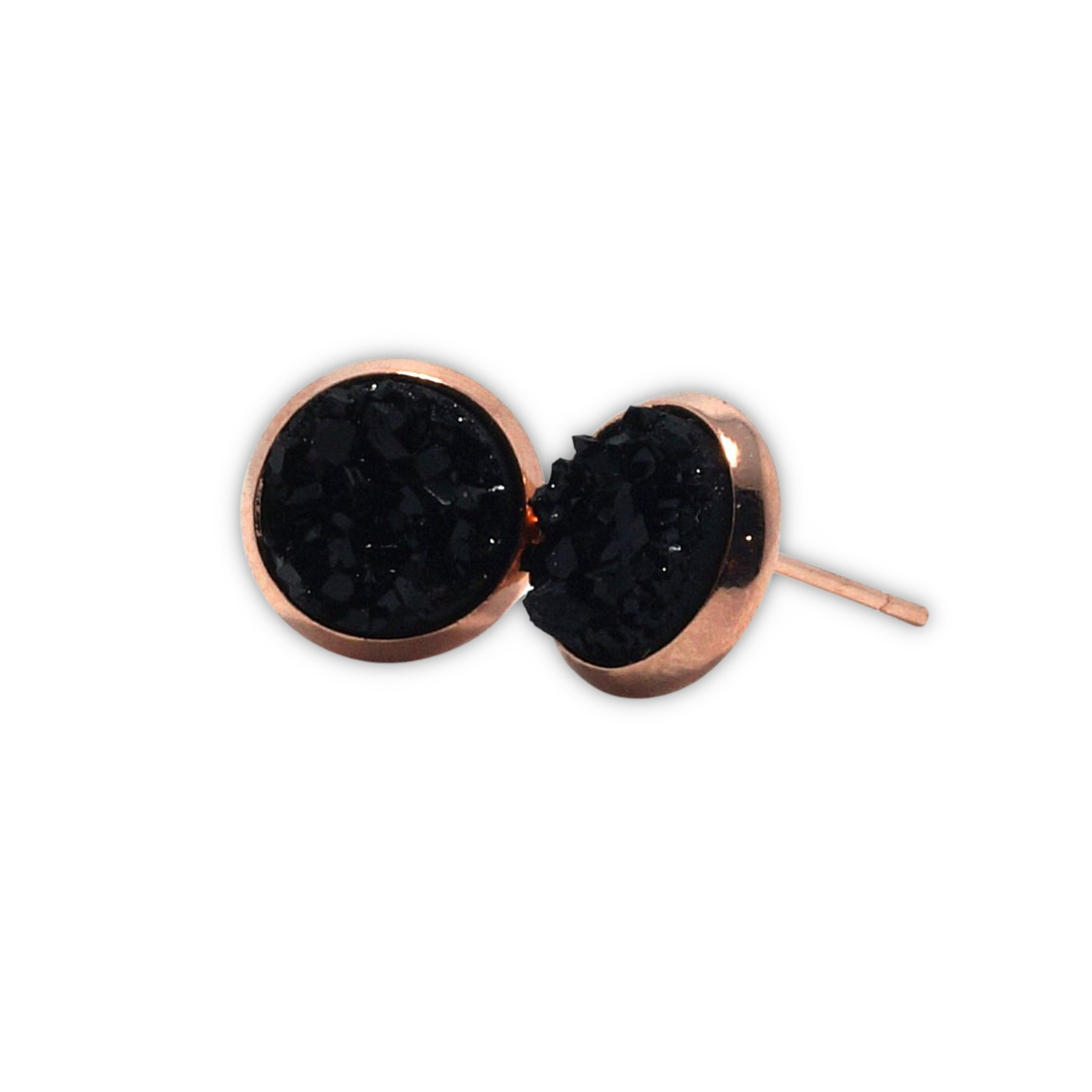 Black Chick Raven Druzy Stud Earrings  (10mm)