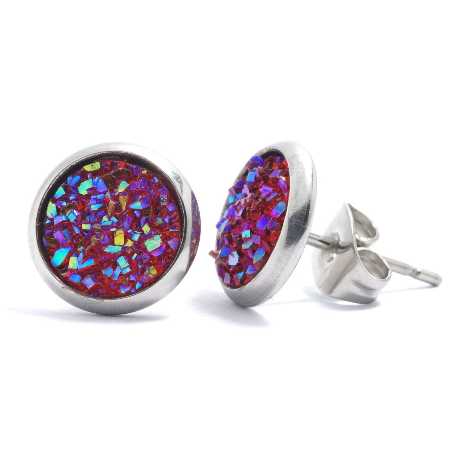 Shop Red Druzy Silver Tone Stud Earrings (10mm)-Jarvi
