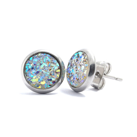 Shop White Druzy Silver Toned Stud Earrings (10mm)-Jarvi