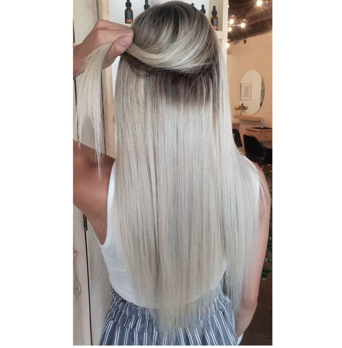 Rooted Espresso 1c To White Blonde 60b Weft Hair Weft