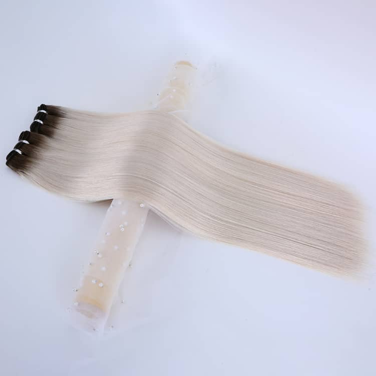 Rooted Espresso (#1C) to White Blonde (#60B) Weft