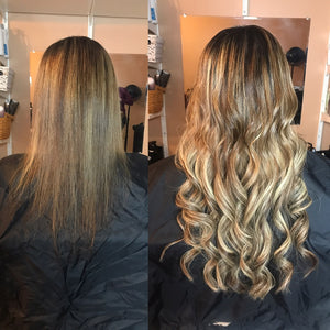 Ombre - Dark Brown (#2) to Ash Brown (#9) Tape (50g) - BOMBAY HAIR  - Ombre Tape Hair
