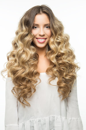 "Ash Brown (8) 22"" 220g - BOMBAY HAIR  - 22"" Clip In Extensions"