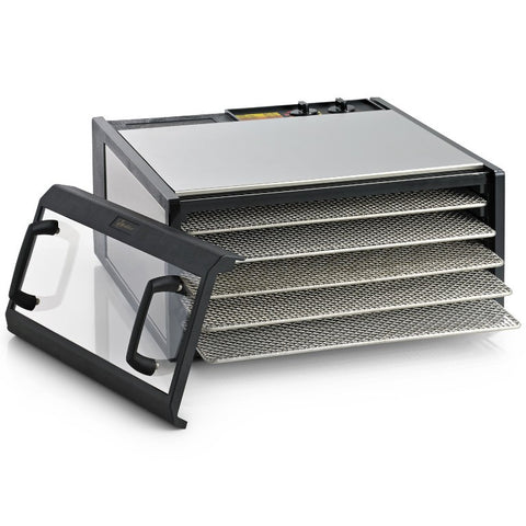 Excalibur Clear Door Dehydrator D500-SHD, 5 Tray with Timer, stainless steel and stainless steel shelves