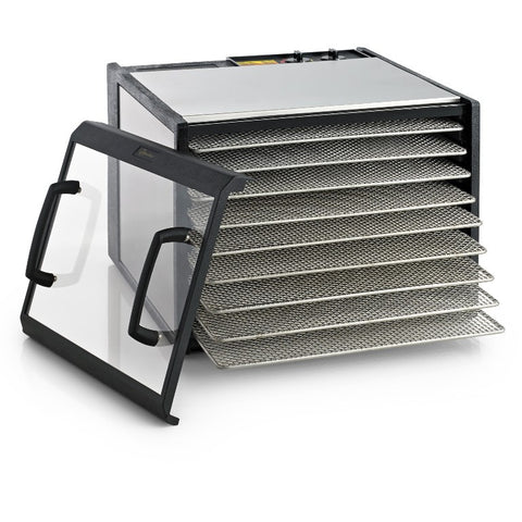 Excalibur Clear Door Dehydrator D900-SHD, 9 Tray with Timer, stainless steel and stainless steel shelves