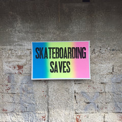 "Old Star ""SKATEBOARDING SAVES"" Letterpress Print 11"" x 17"""