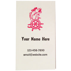 Fish Captain Letterpress Business Cards (3 line / white)