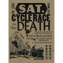 Cycle Race to the Death Letterpress Print
