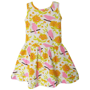 Sleeveless Spring Birds & Floral Swing Dress