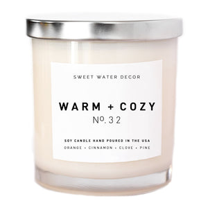 Sweet Water Decor - Warm and Cozy Soy Candle | White Jar Candle