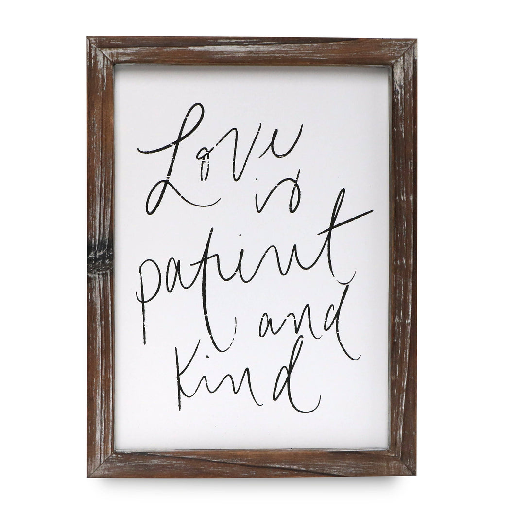 Love is Patient Wood Sign 9 x 12