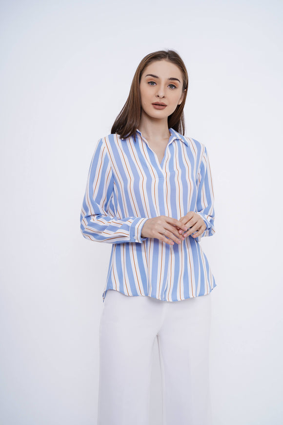 Moza Top Blue Stripes