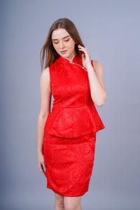 Ling Jacqard Cheongsam dress (Red)