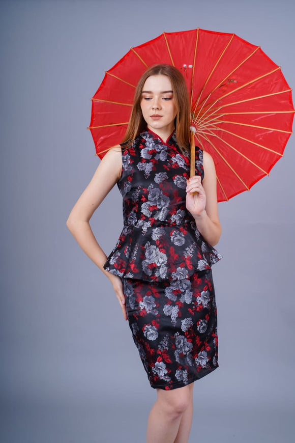 Ling Jacqard Cheongsam Dress (Black)