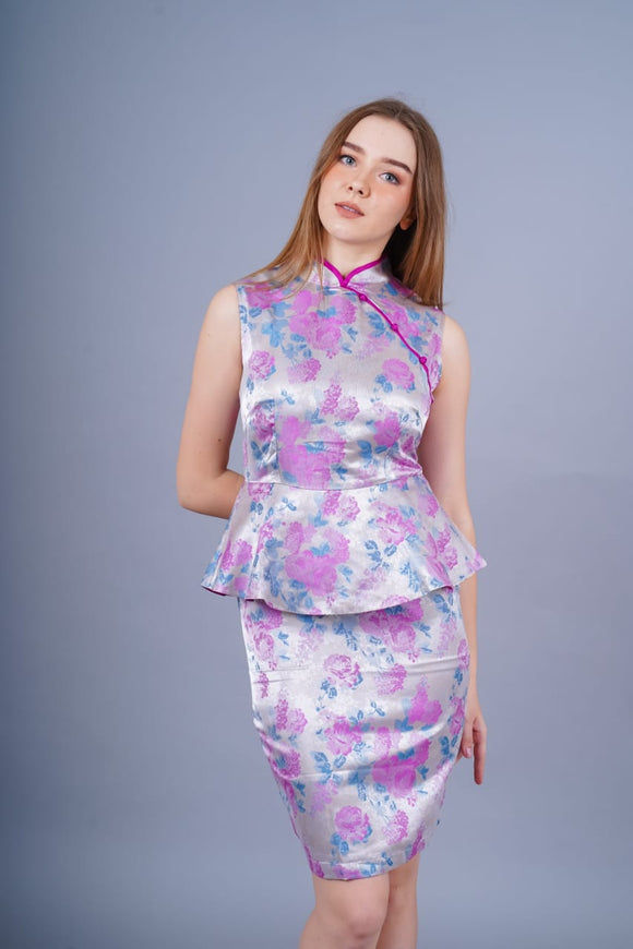 Ling Jacqard Cheongsam Dress (Pink)