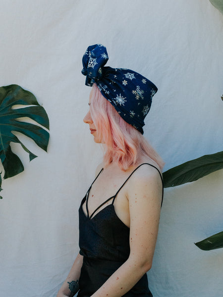 Frozen | Full Turban - Navy Snowflake