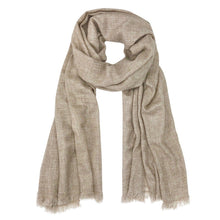 Load image into Gallery viewer, Beige Handloom Cashmere Scarf.
