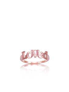 Loved Block Letter Ring.