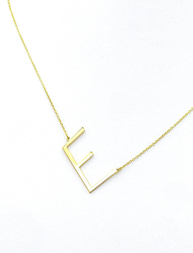Angled Initial Necklace.
