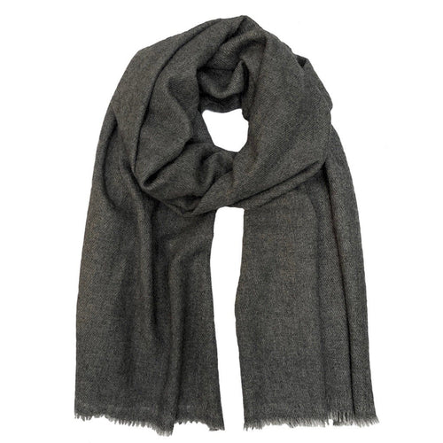 Charcoal Handloom  Cashmere Scarf.