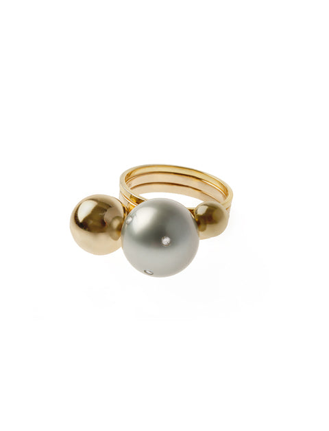 Stackable Pearl Ball with Scattered Diamonds