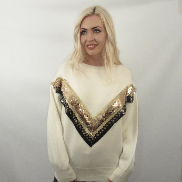 SEQUIN CREAM V RETRO KNITWEAR