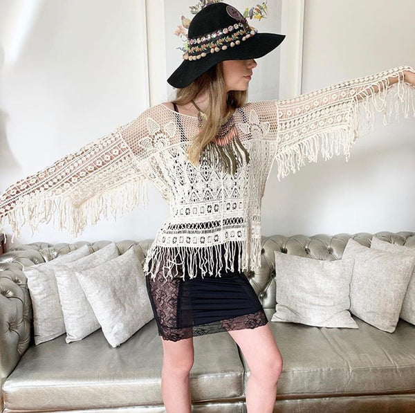 CROTCHET LACE LONG SLEEVED FRINGED TOP