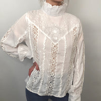 HIGH NECK FRILL LACE BLOUSE