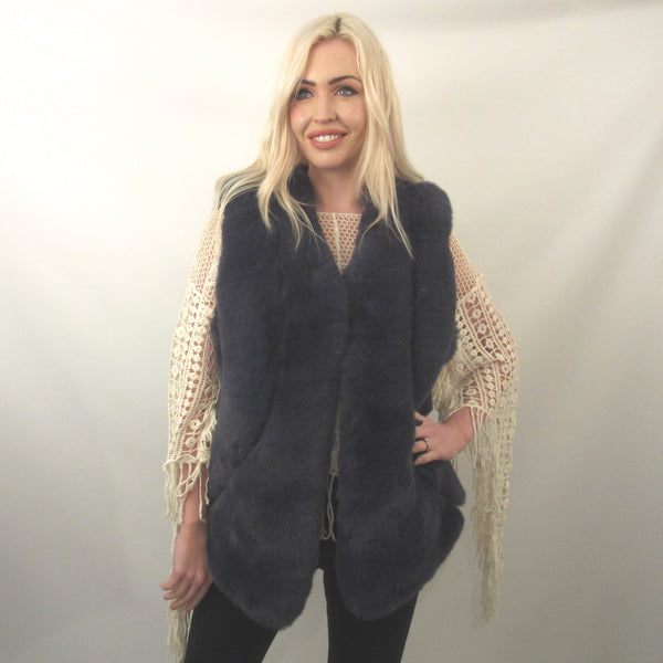 FAUX FUR CHARCOAL SABLE GILLET